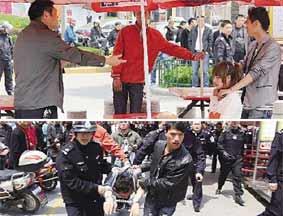 男子挟持女人质被夺刀