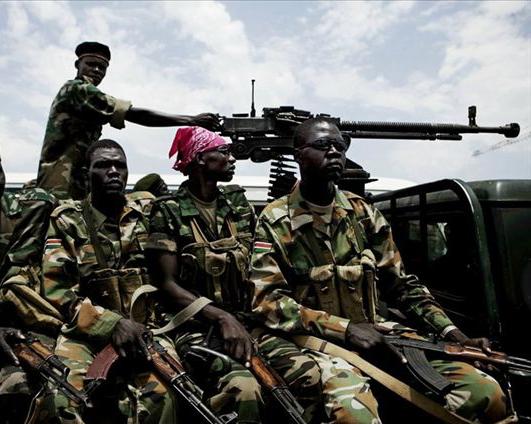 南苏丹人民解放军士兵乘坐经过改装的皮卡-打不死的小强 南苏丹人民