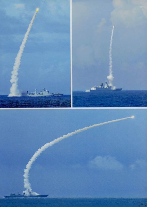 TG海军主力舰军演狂射多型导弹(环球网语)