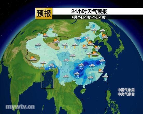 24小时天气预报(图片来自:中国气象视频网)-强雨带转向长江流域