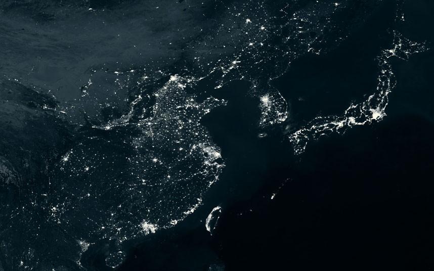 日本 中国 地球 夜景/从地球夜景卫星图看全球能量分布(7/13)...