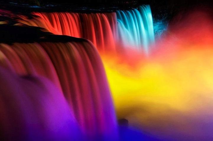 风光摄影:彩色尼加拉瀑布