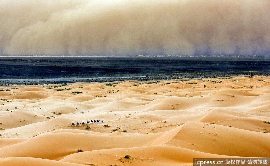 沙尘暴席卷沙漠场景