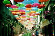 城市风光:空中的彩虹伞