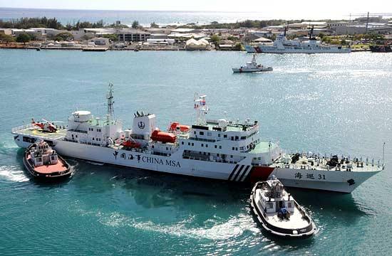 中国海巡31船抵达美国 首次搭载直升机远航