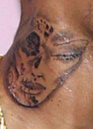 里斯 布朗颈上纹身引猜测图片