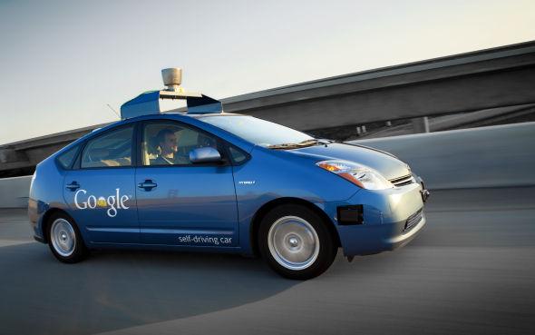 基于丰田普锐斯改装的谷歌无人驾驶汽车高清图片