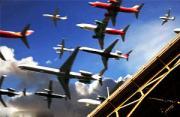 视频:定时摄影合成飞机群大场面