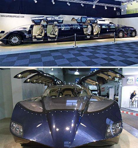 超级公交车是一种奢华的公共交通工具,上面有23个独立的内部车厢高清图片