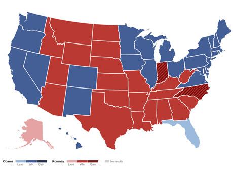 被红蓝两色割裂的美国版图