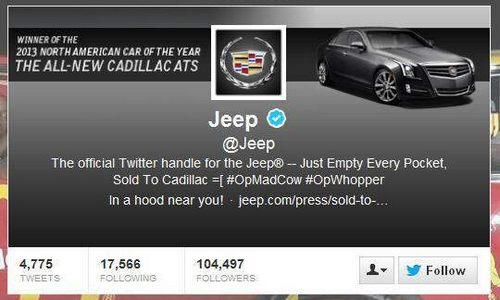 吉普推特遭黑客袭击 惊现凯迪拉克logo高清图片
