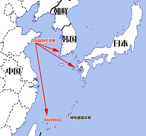 海军青岛基地位置示意