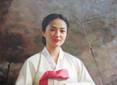 油画中清纯的朝鲜美女