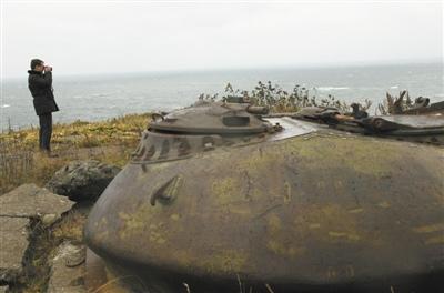 视察北方四岛(俄称南千岛群岛)拍摄的照片.