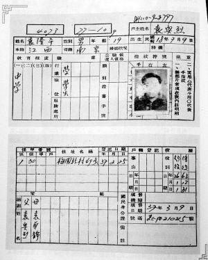 袁隆平户籍卡