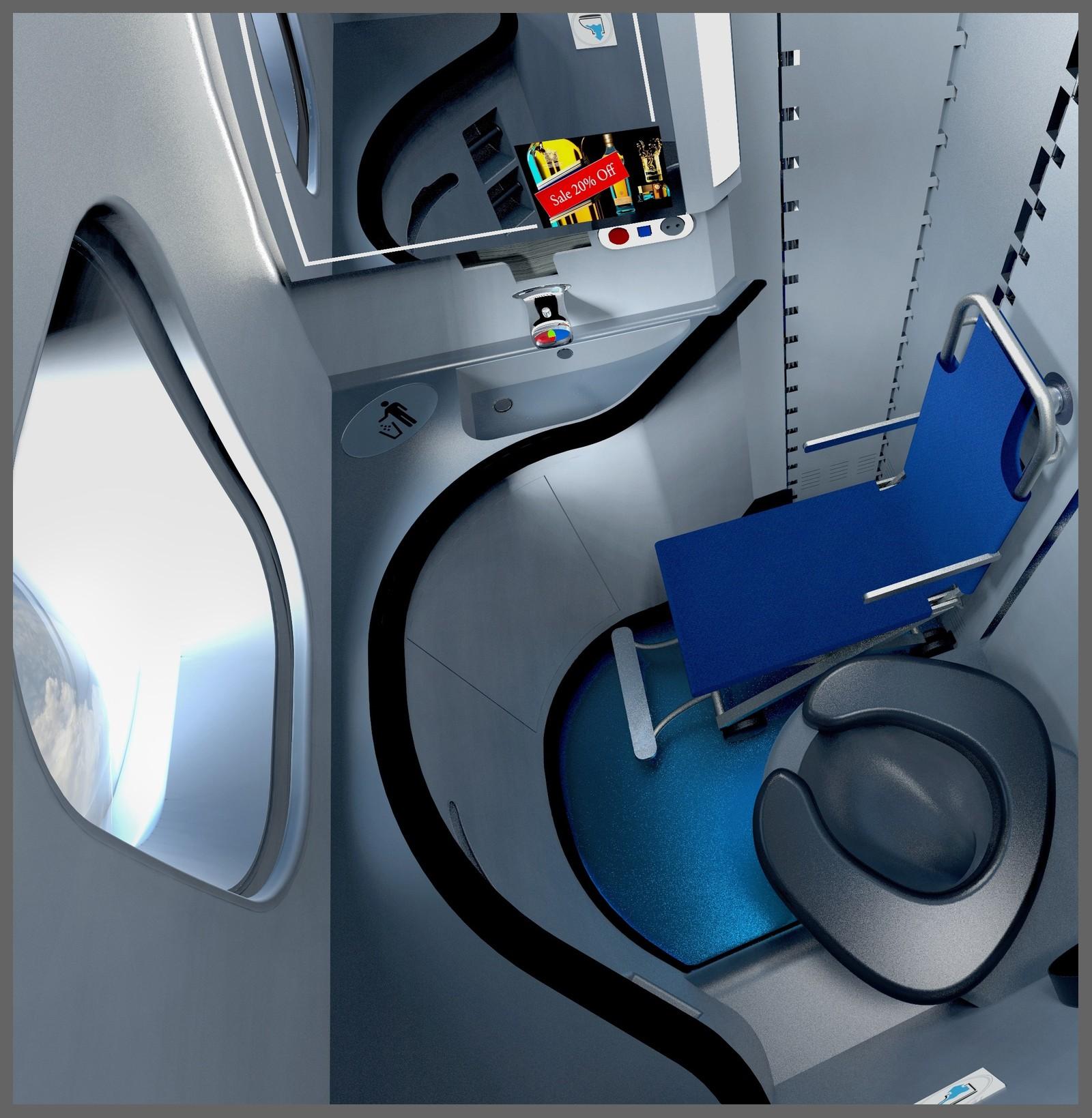 冲水马桶位于盥洗室的对角线位置