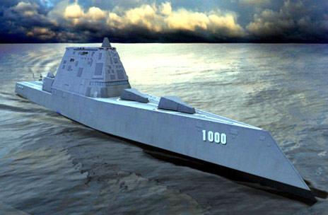 美军下一代DDG-1000驱逐舰外观非常科幻