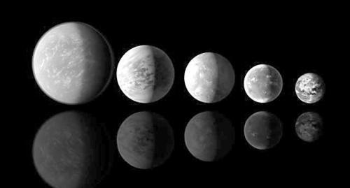 """""""新地球""""体积比照图:从左到右依次为开普勒22-b、69-c、62-e、62-f、地球。"""