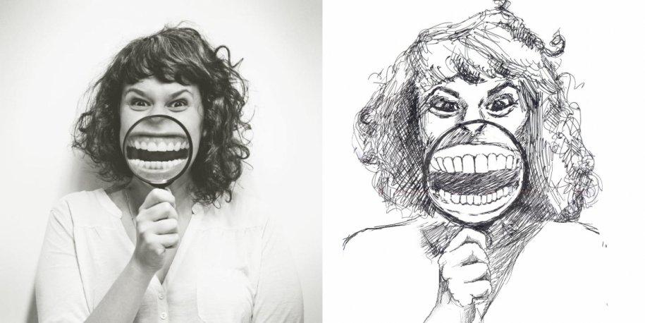 有时是只用钢笔铅笔做简笔画.