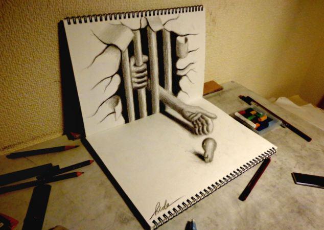 画家铅笔勾勒创意立体画作图片