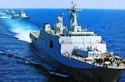 中国海军战舰群耀武扬威