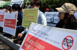"""美""""尼米兹""""战斗群抵韩 引朝方抨击韩民众抗议"""