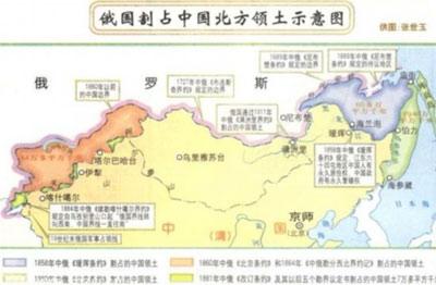 沙俄通过不平等条约侵占中国领土