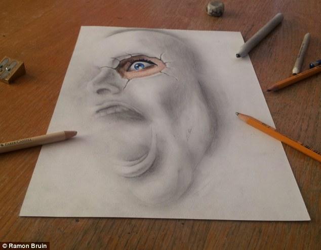 荷兰艺术家绘制神奇逼真3d素描图