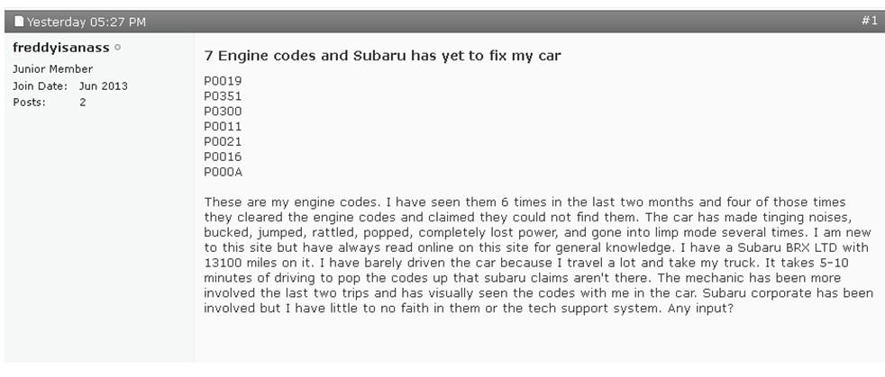 车主再揭斯巴鲁存质量缺陷 BRZ新车质量堪忧