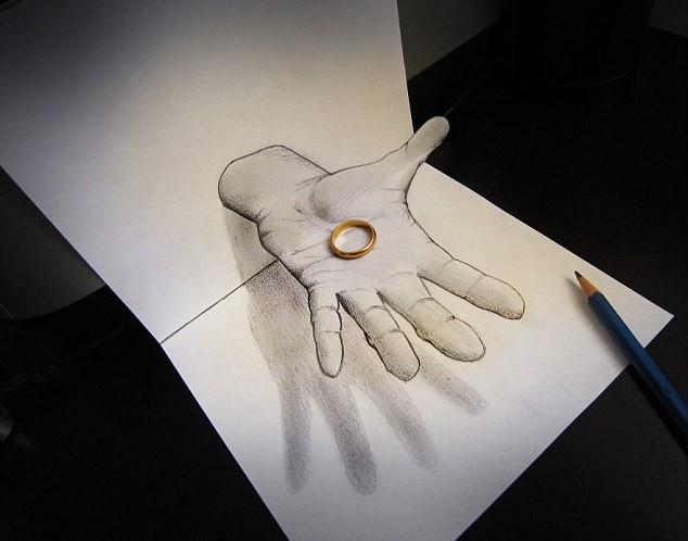 艺术家绘3D铅笔画奇迹跃然纸上