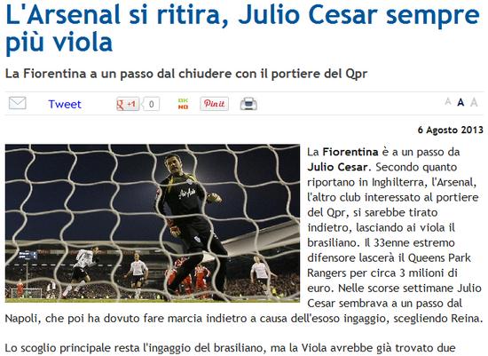 塞萨尔接近加盟佛罗伦萨 恐压倒米兰双雄
