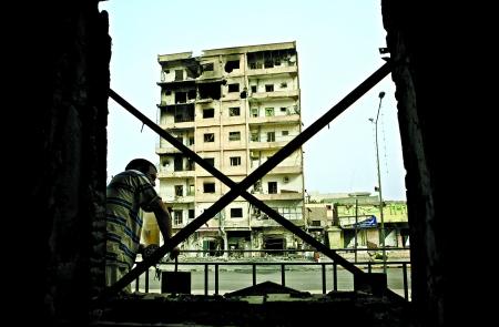 战后一片废墟的利比亚