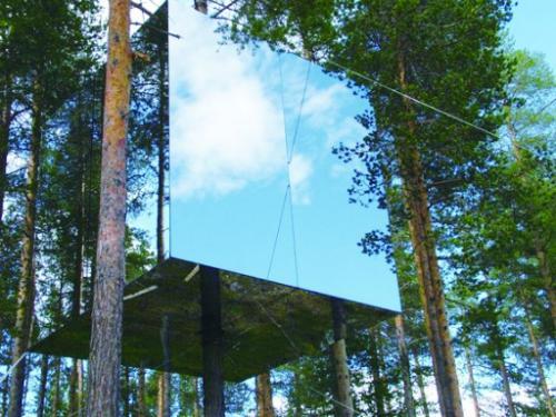 """财经资讯_【建筑与公益】瑞典生态镜子屋在森林""""隐形""""_公益_环球网"""