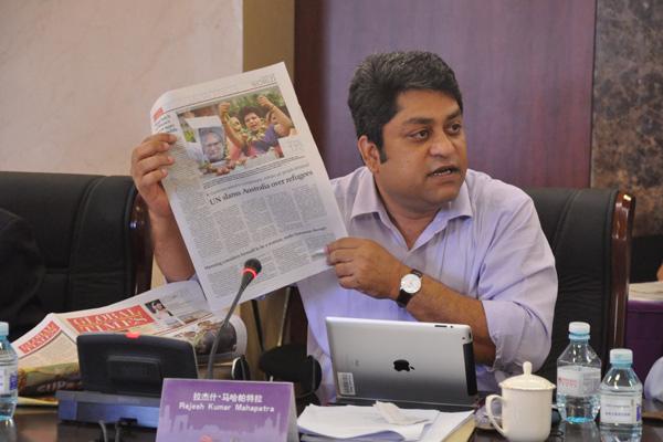 印度斯坦时报执行总编辑拉杰什在论坛中发言