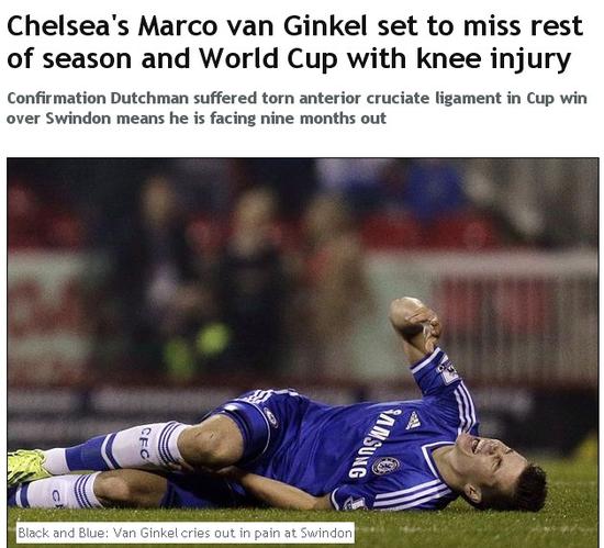 范金克尔重伤将休战九个月 赛季报销世界杯梦碎