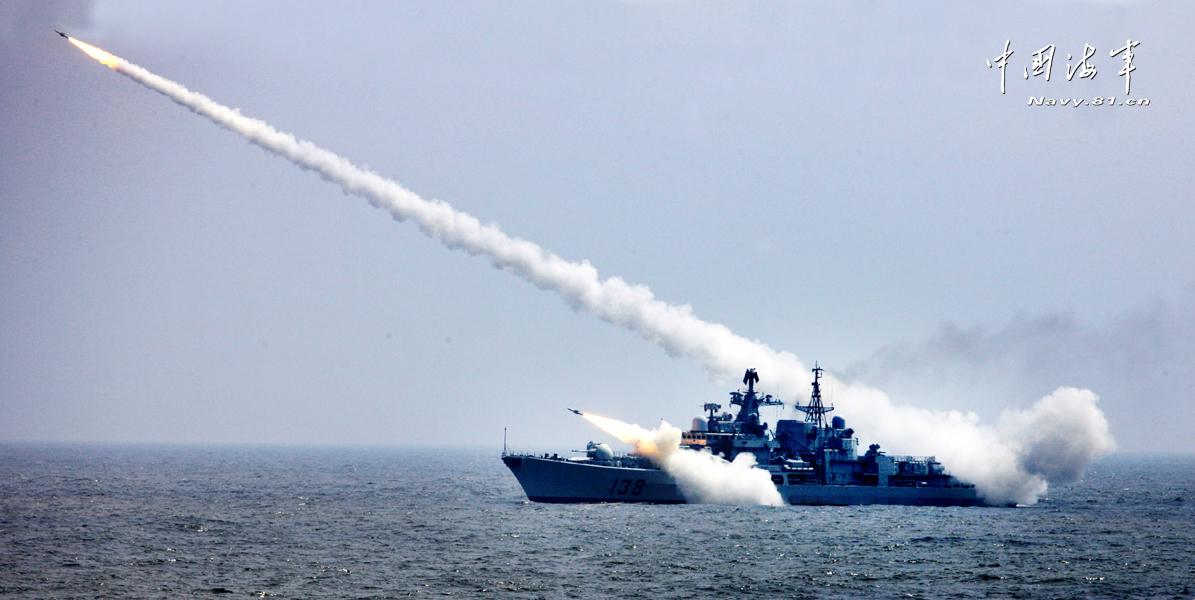 中国海军各型防空导弹发射猛图
