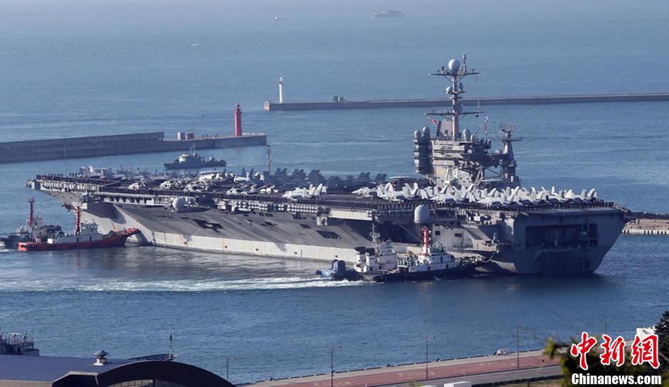 """贺基地的核动力航母""""乔治·华盛顿""""号4日驶"""