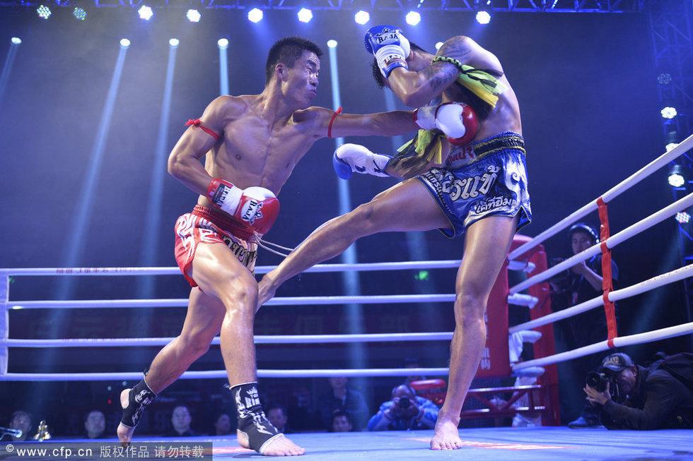 中国散打_中国散打团打爆七位泰拳王担架不够用_体育_环球网