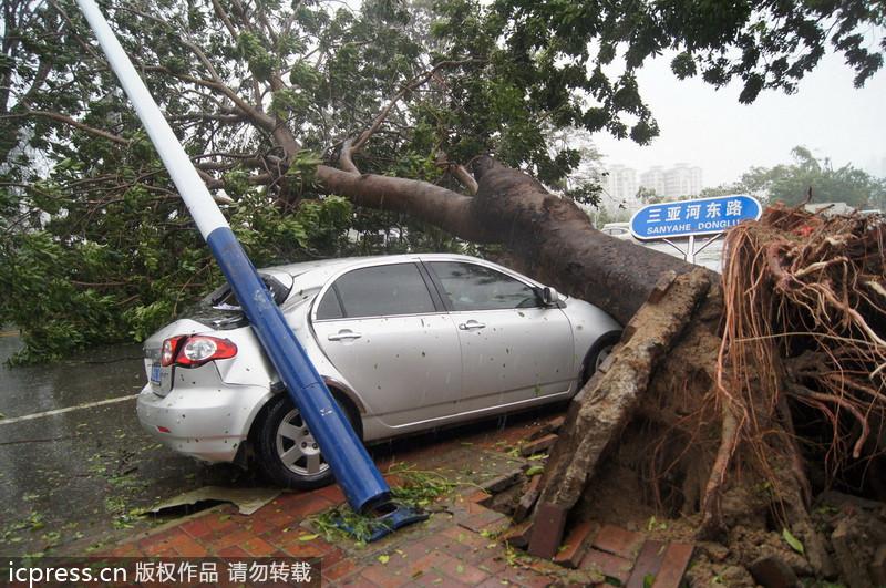 """三亚 海南/超强台风""""海燕""""重创海南三亚 轿车摩托被压路边(1/12)..."""