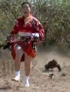 冒险精神杠杠的!日本女子穿和服与巨蜥赛跑