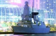 黄浦江夜幕下英军45型舰显妖娆