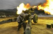 大冷天三八线附近韩军火热打炮
