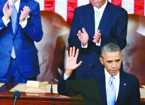 《纽约每日新闻》描述奥巴马(中)发表咨文场景的漫画。左为副总统拜登,右为众议长博纳。