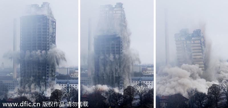 德国高层教学楼爆破拆除 场面壮观