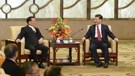 """连战:两岸人民同属中华民族 不是""""国际关系"""""""