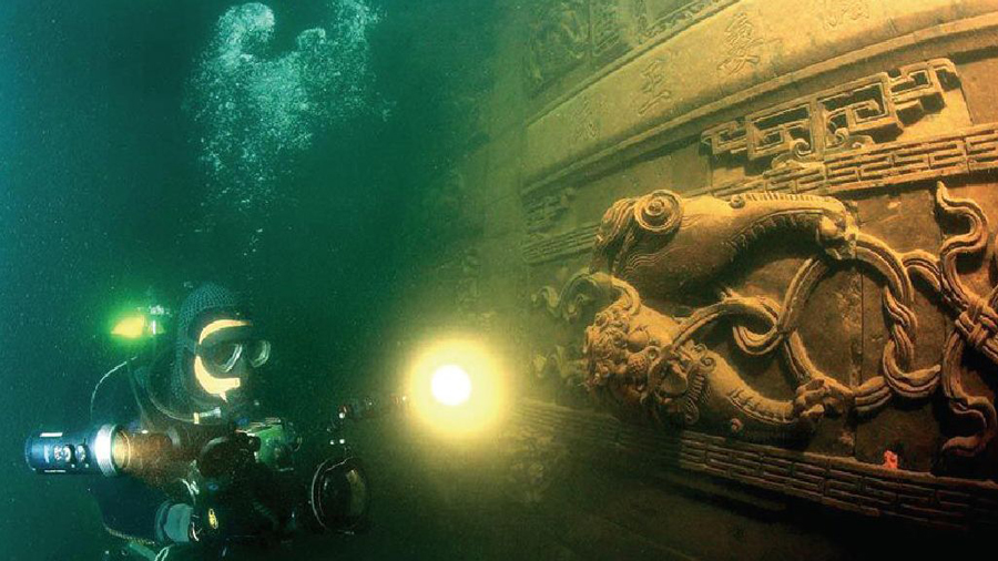 千岛湖水下狮城考古 探索被水淹没的历史古迹(组图)