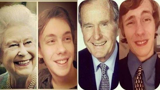 美国高中生模仿政界伟人表情 自拍对比照走红