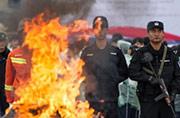 中越警方联合焚烧毒品1吨毒品
