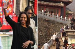 米歇尔带女儿参观慕田峪长城