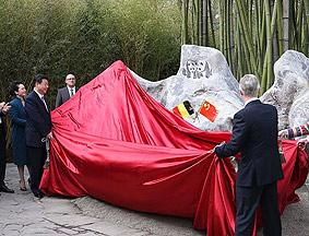 习近平与比利时国王出席大熊猫园开园仪式